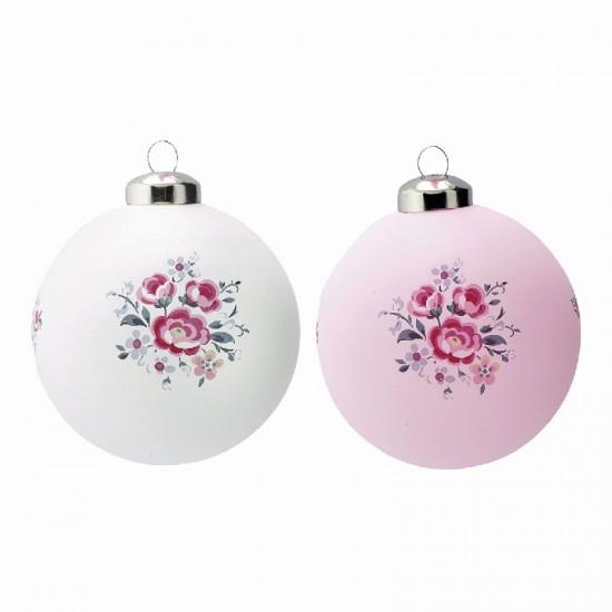 Julekugle i glas Nicoline Pale Pink - Greengate