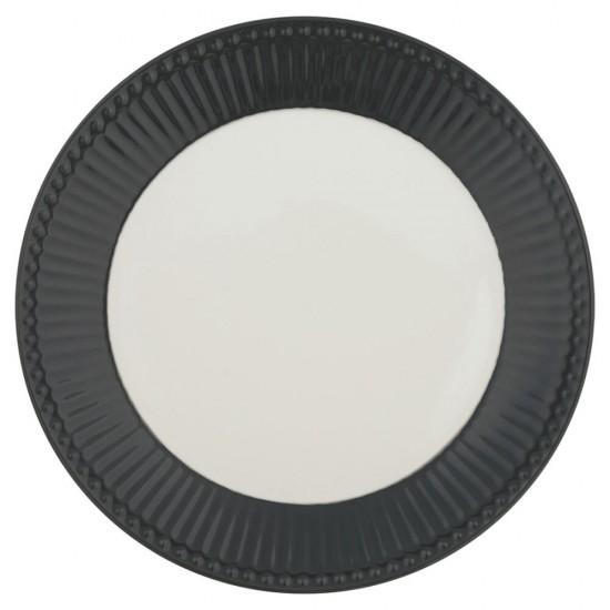 Greengate Frokosttallerken Alice Dark Grey Ø23.5