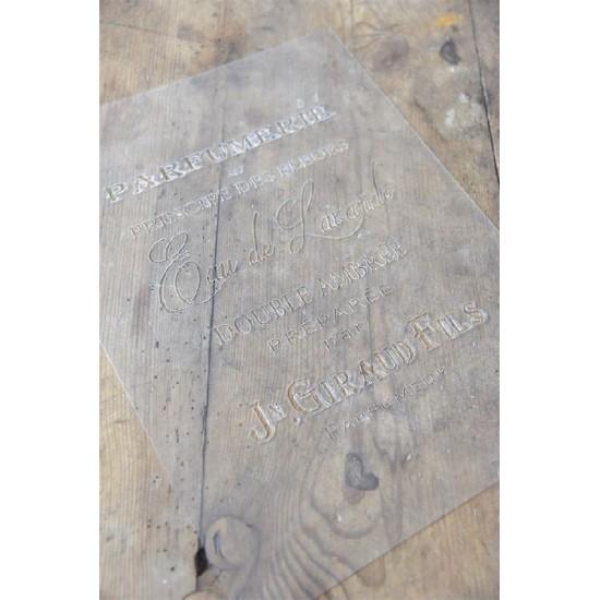 Stencil med tekst Parfumerie