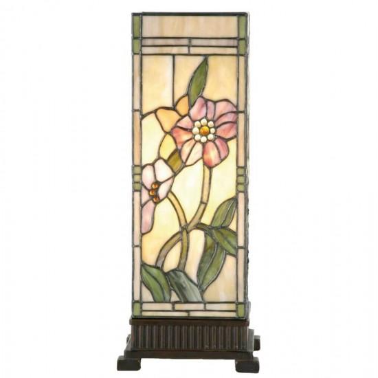 Bordlampe firkantet med Tiffany skærm - 45cm høj