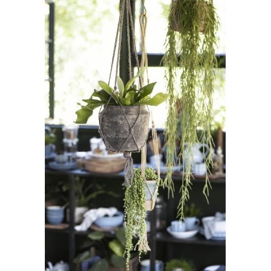 Makreme Hænger til blomster potte i tykt jute