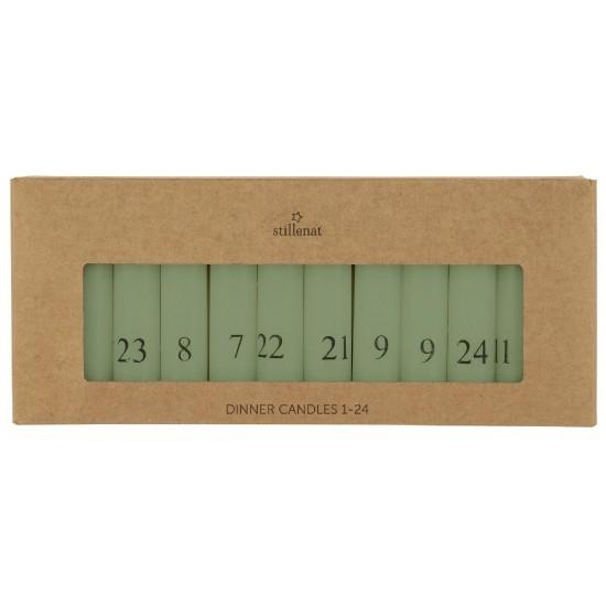 Kalenderlys 1-24 bedelys - støvgrøn