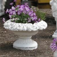 Blomsterkrukke med frugtkant 40 cm - Frostsikker havekrukke i marmor