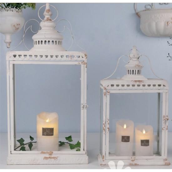 Stort Smukt Lanterne sæt i antik hvid