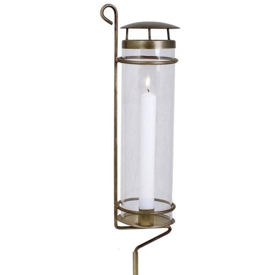 Smuk lysestage med hurricaneglas på spyd Antik Guld 125 cm