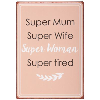 Metalskilt 'Super woman' fra Ib Laursen