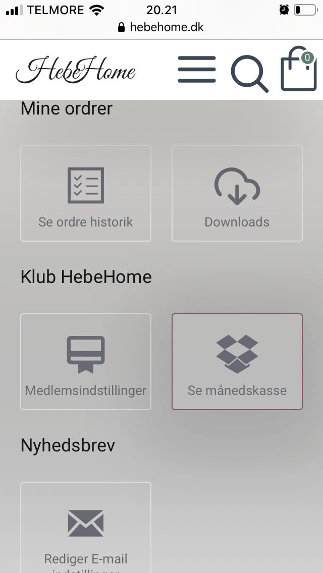 Se indholdet i månedskassen på mobil-tablet HebeHome